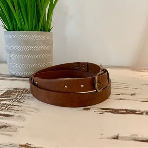 Accessories - Brown and gold Minimal faux leather belt